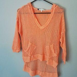 Crochet high-low hoodie